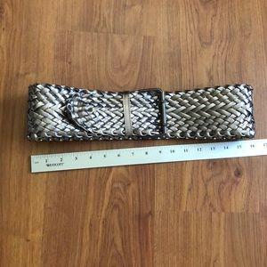 Silver woven belt.
